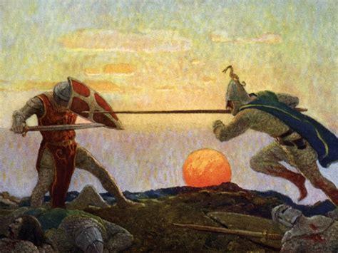 Plaid Vs Tartan by Arthur And Mordred Battle Desktop Wallpaper