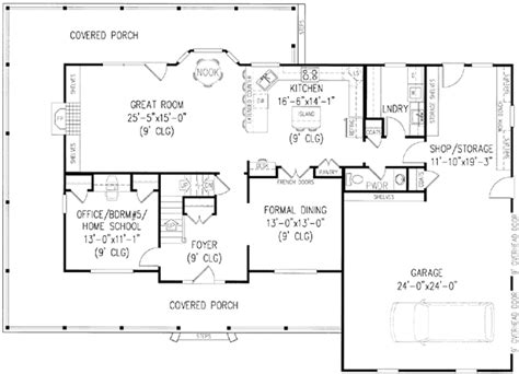 house with wrap around porch floor plan wrap around porch style house plans 2579 square foot home 2 story 4 bedroom and 2 bath 2