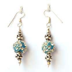 Handmade Earrings With - handmade earrings blue with white rhinestones