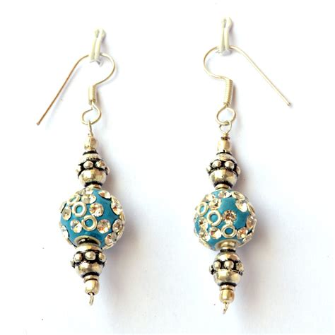 Handmade Ear Rings - handmade earrings blue with white rhinestones