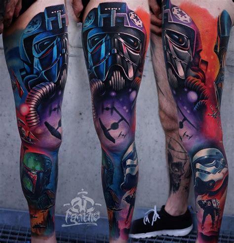 star wars tattoo sleeve wars leg sleeve by ad pancho