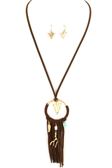 Necklace Suede Clothing Accessories 3 hammered arrowhead suede tassel necklace set necklaces