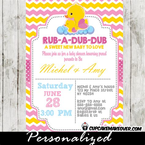 Pink Rubber Duck Baby Shower Decorations by Yellow Pink Rubber Ducky Baby Shower Invitation