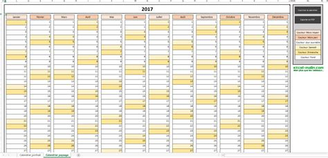 Calendrier In Calendrier Annuel 2017 Pour Excel Excel Malin