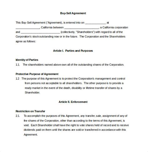 Buy Sell Agreement Template 12 buy sell agreement templates free sle exle