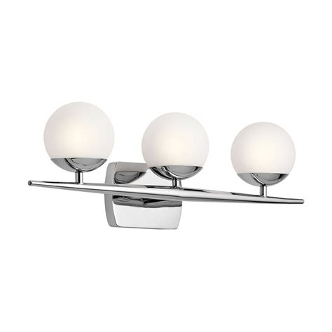 kichler vanity lights shop kichler jasper 3 light 7 75 in chrome orb vanity