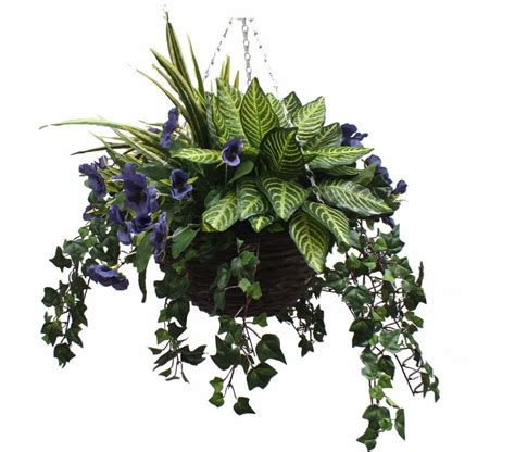 Charming Topiary Christmas Trees Artificial #7: Artificial-pansy-hanging-basket-with-greenery.jpg