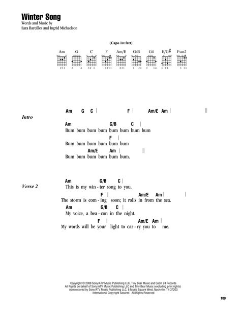 lyrics and piano chords winter song sheet by bareilles lyrics chords