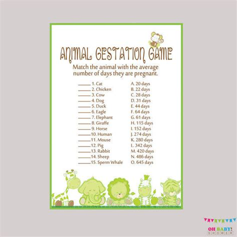 printable animal gestation game animal pregnancy game safari baby from ohbabyshower on etsy