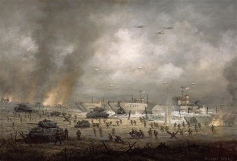World Shower Curtain The Tanks Go In Sword Beach Painting By Richard Willis
