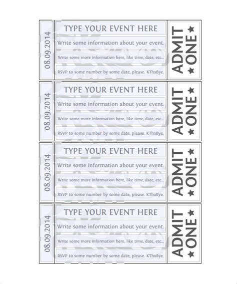 blank printable event tickets doc 500231 blank tickets template free printable event