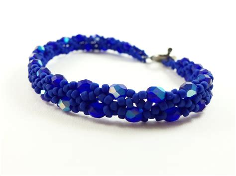 blue beaded bracelet cobalt blue beaded bracelet blue jewelry beaded jewelry