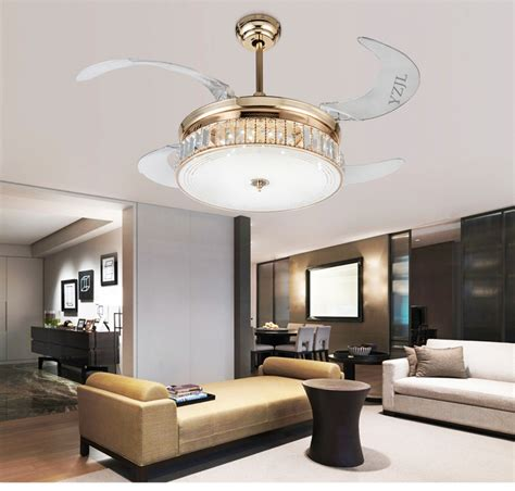 living room ceiling fans with lights crystal folding ceiling fan light telescopic modern