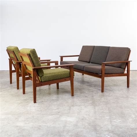 sixties sofa 60s teak seating group 1 three seat sofa 2 fauteuils