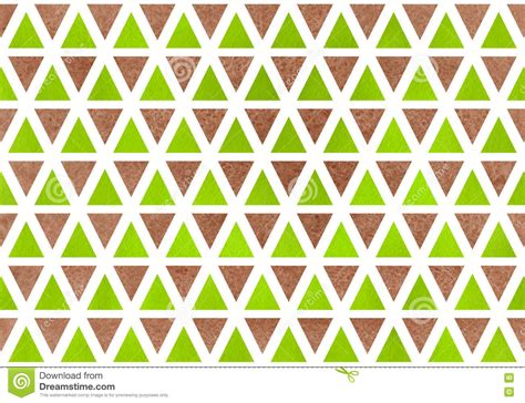 brown green pattern watercolor triangle pattern stock illustration image