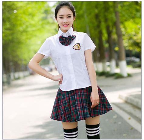 pattern japanese school uniform school shirt and short skirt japanese school girl uniform