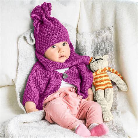 stricken babysachen modell 470 6 baby jacke m 252 tze und schal aus novata
