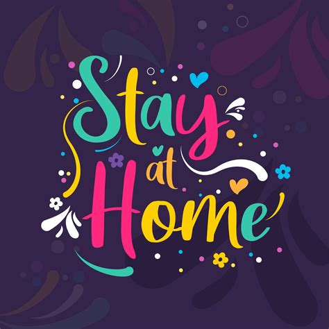 stay  home colorful word art   vectors