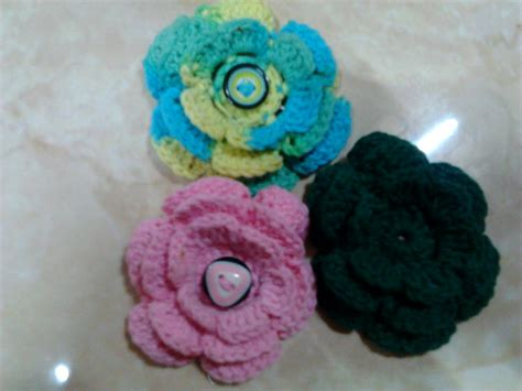 tutorial membuat rajut bunga icha dan crochet bros bunga mawar tumpuk