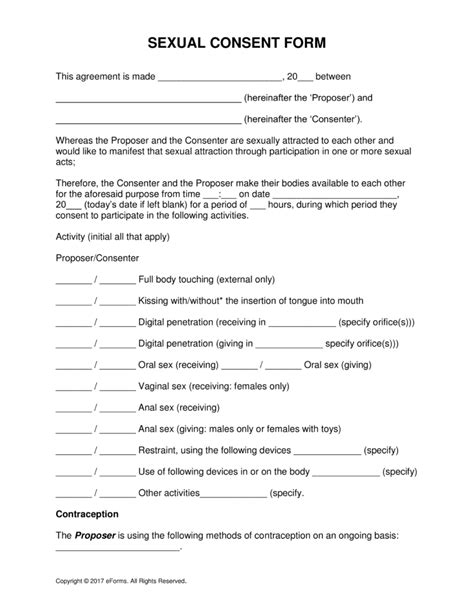 consent form free sexual consent form word pdf eforms free