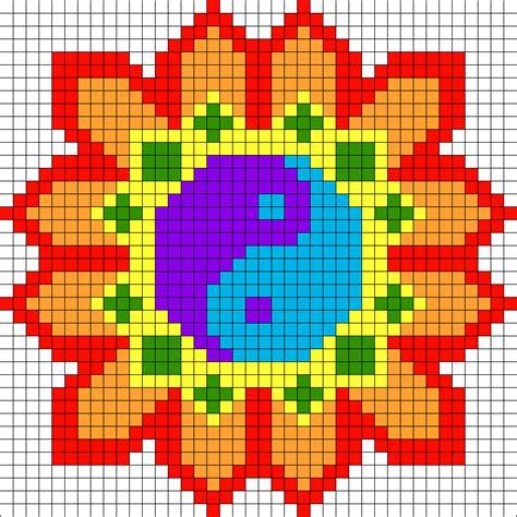 perler bead flower patterns yin yang flower perler bead pattern bead sprites misc