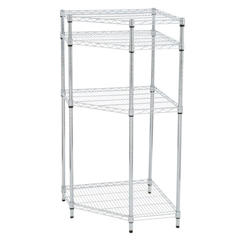 hdx wire shelving hdx 4 shelf wire corner shelving unit in chrome sl csus 114c the home depot