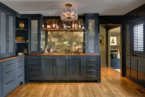 liquor cabinets Home Bar Traditional with cabinet lighting
