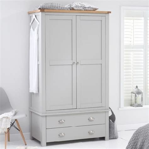 Grey Wood Wardrobe Platina Wardrobe In Grey And Oak With 2 Doors 2 Drawers