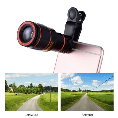 Original Pickogen Universal Lens 12x Zoom Telescope Lensa Clip Jepit universal 12x zoom mobile phone lens clip on telescope lens for iphone 7 6s plus samsung