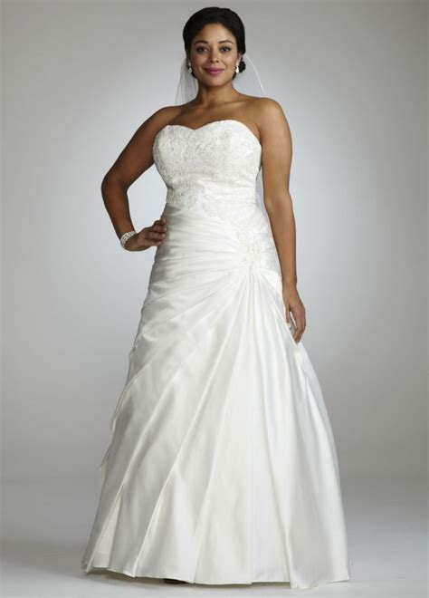 davids bridal hairstyles davids bridal strapless a line satin gown with dropped