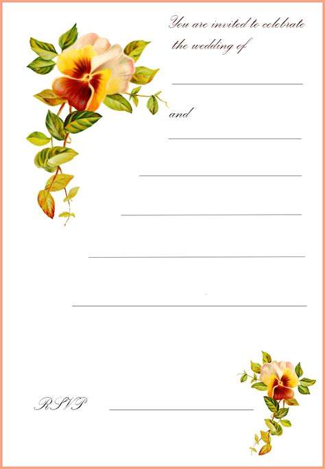 printable flowers for cards free printable wedding invitations free printable