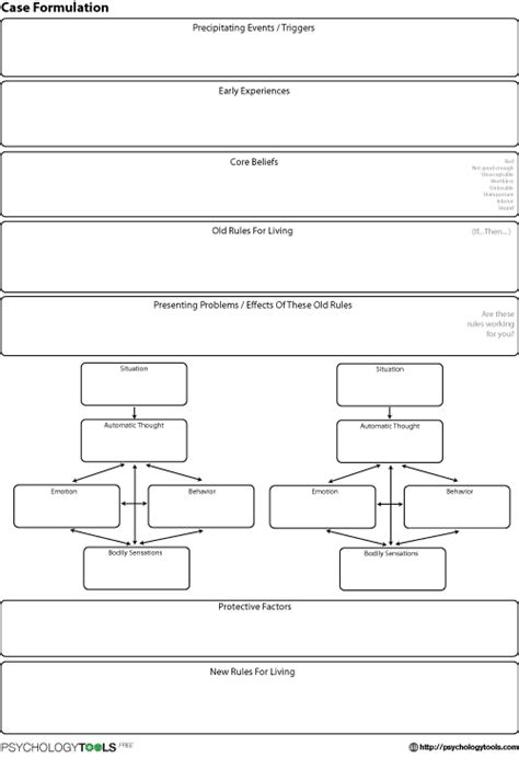 Longitudinal Formulation 1 Cbt Worksheet Psychology Tools Psychological Formulation Template