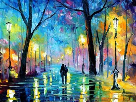 spring paint romantic walk leonid afremov painting you with words