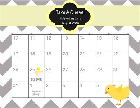 Baby Calendar Template baby due date printable template calendar template 2016