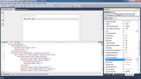 tutorial wpf web application 0007 wpf application part 1 menu vb net youtube