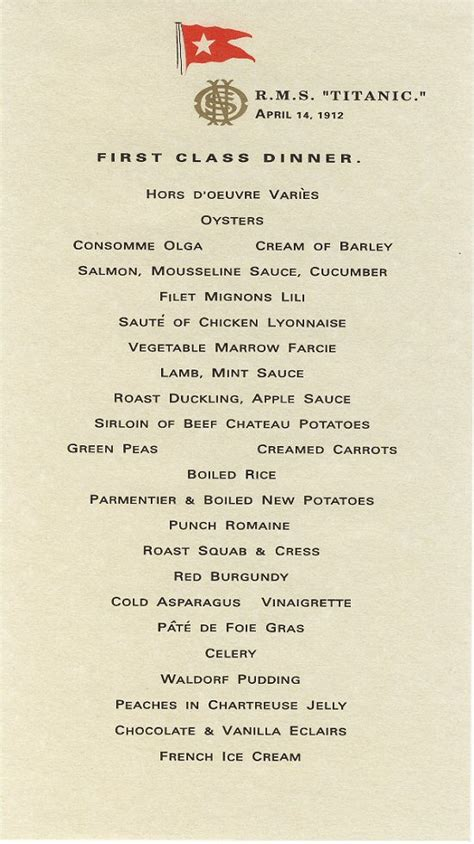 titanic third class menu rebel puritan titanic or mayflower which ship would you