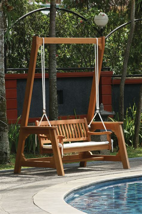 outdoor swinging benches hardwood garden swing bench