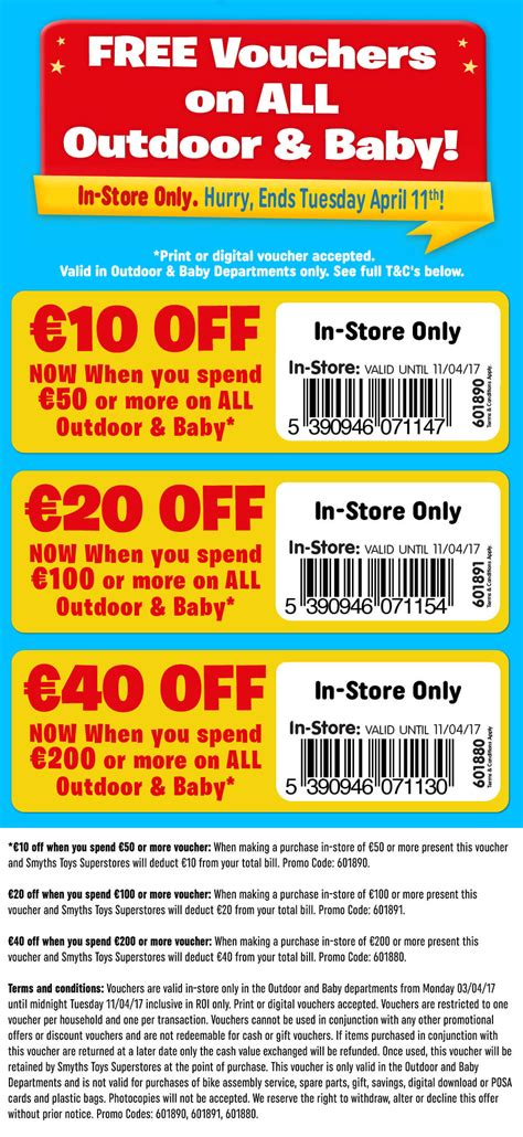 discount vouchers smyths toy shop free 40 off voucher on all outdoor baby in store smyths