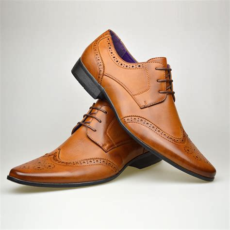 P Da Casual mens new casual brown leather smart formal lace up shoes