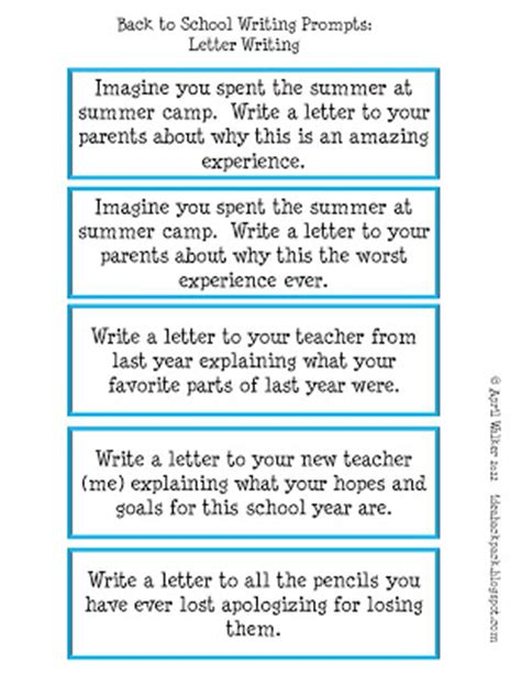 Letter Writing Prompts The Idea Backpack Made It Monday Back To School Writing Prompts