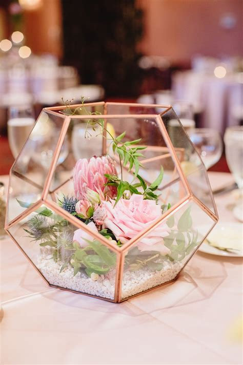 Terrarium centerpiece. Modern geometric wedding decor. By