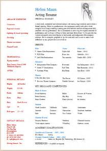 Talent Resume Format by Acting Resume Template Build Your Own Resume Now