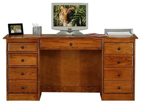 classic oak pedestal computer desk light oak