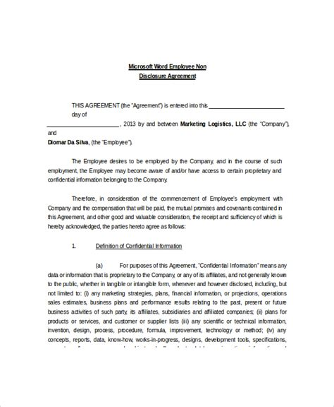 employee non disclosure agreement template 8 non disclosure and confidentiality agreement templates