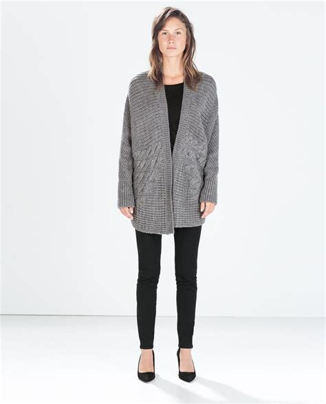 Zara Cardigan 1 image 1 of oversize cable knit cardigan from zara t o a