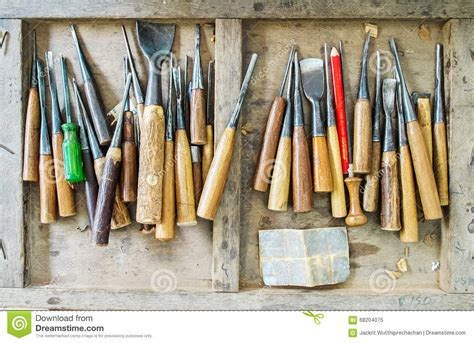 Wood Handcraft - used set of carpenter tools for wood handcraft work