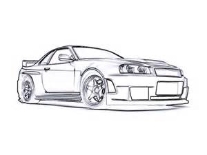 free coloring pages of skyline r35 gt r sketch template