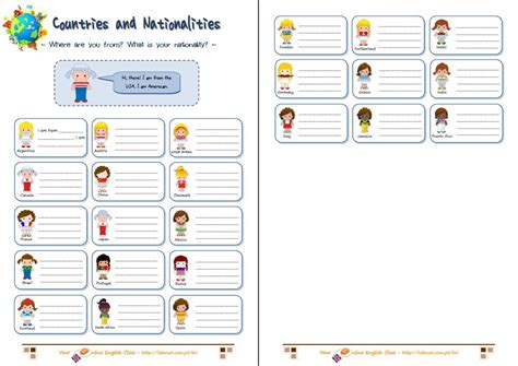 english activities countries and nationalities
