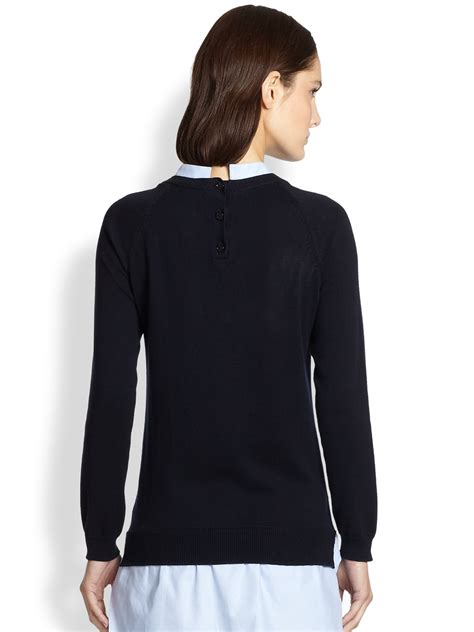 Combination Tunic lyst carven cotton combo knit tunic in blue