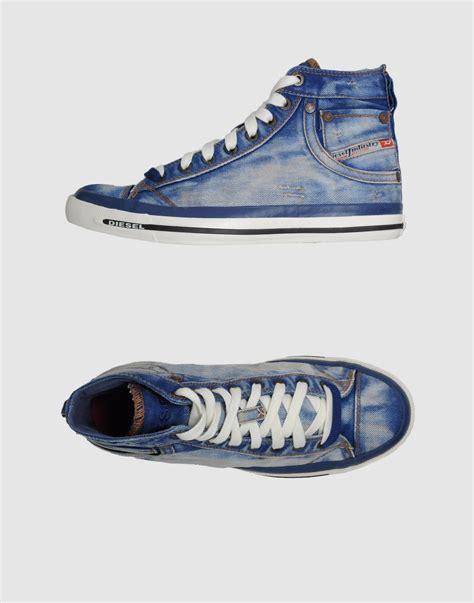 diesel high top shoes diesel diesel high top sneakers in blue lyst